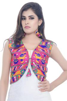 fcfbf1cf0be Pink Kutchi Embroidered Cotton Blend Short Jacket Women Ethnic Wear · Shop  Now