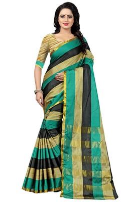 Multicolor Striped Ora Dupion Saree With Blouse