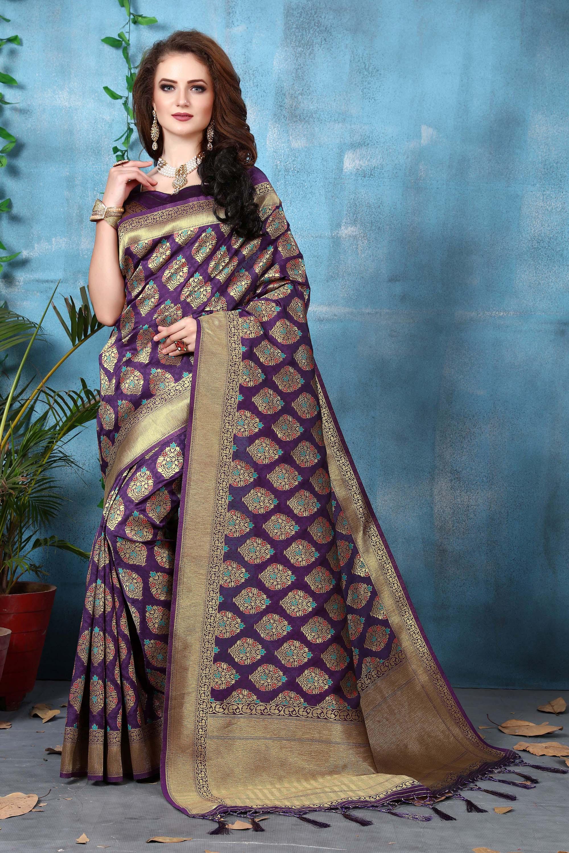 c8da72f58a Dark Purple Color Banarasi Art Silk Saree With Unstitched Blouse Piece - Viva  N Diva - 2693717