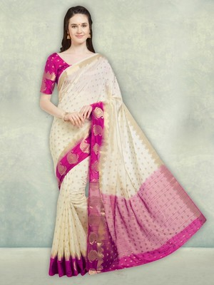 3542cddd9 Cream And Pink Color Banarasi Silk Saree With Unstitched Blouse Piece -  Viva N Diva - 2693796