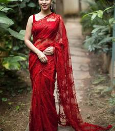Buy Red embroidered net saree with blouse women-ethnic-wear online