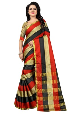 Multicolor Striped Ora Dupion Saree With Blouse
