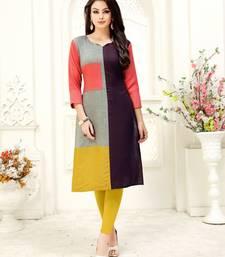 Multicolor plain rayon kurtis