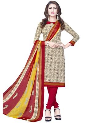 Cream Floral Print Crepe Salwar With Dupatta