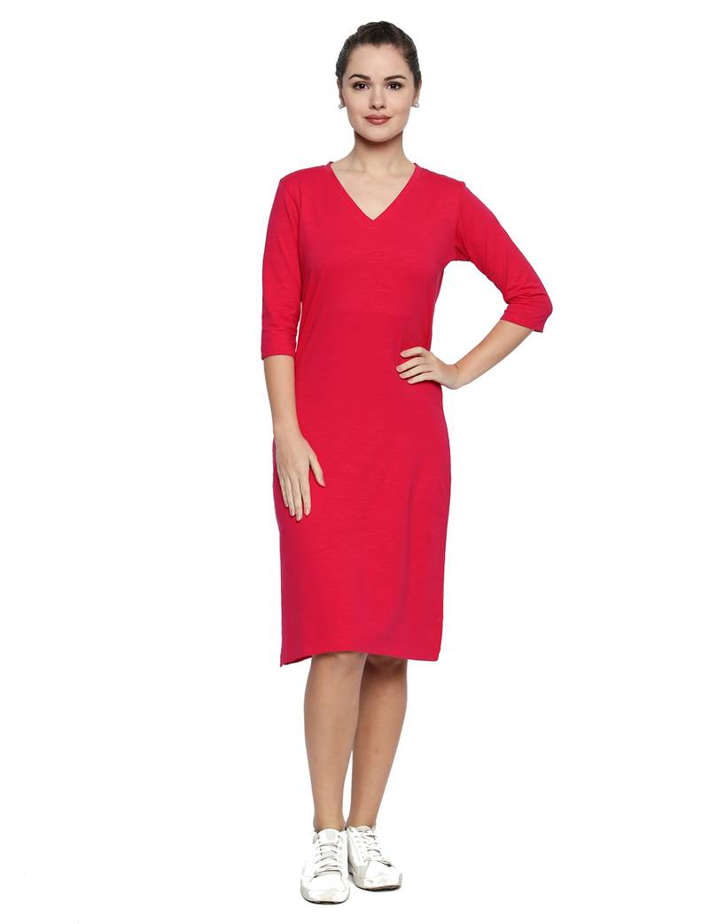 Pink Solid Lycra Knit 3 4th Sleeved Body Fit Dress For Women Blu Finch 2694508 Finding clothing that fits your tall frame well doesn't have to be an uphill battle. pink solid lycra knit 3 4th sleeved body fit dress for women