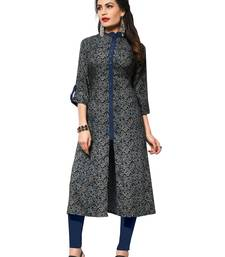 Coffee printed rayon party-wear-kurtis