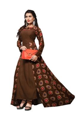 Brown printed rayon party-wear-kurtis