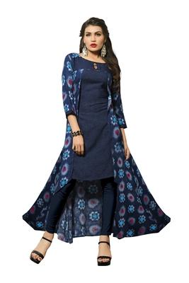 Blue printed rayon party-wear-kurtis