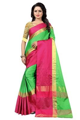 Green Striped Kangi Ora Saree With Blouse