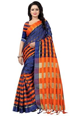 Blue And Orange Checkered Ora Dhupian Saree With Blouse