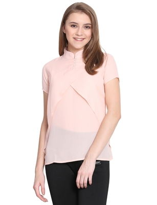 Mythya Baby Pink Solid Short Sleeved Top for Women