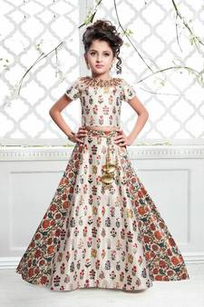 3d43eff0ec96 Off White Multicolor Satin Silk Digital Print Lehenga For Girls Kids wear ·  Shop Now