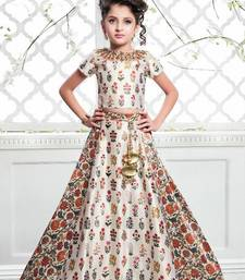 Buy Off White Multicolor Satin Silk Digital Print Lehenga For Girls Kids wear women-ethnic-wear online