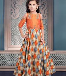 Buy Multicolor  embroidery Jequard Silk Umbrella Cutt flared Gown Dress For kids wear indian-dress online