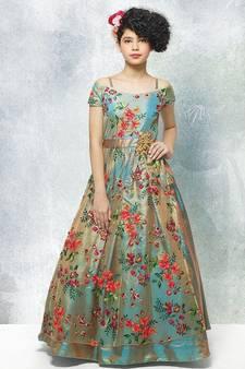 e897b2357bb16 Rama Green Dual Tonne Multi Thread Embroidery Silk Off Shoulder Sleeve  Style Wedding Wear Gown Dress. Shop Now