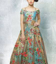 Rama Green Dual Tonne Multi Thread Embroidery Silk Off Shoulder Sleeve Style Wedding Wear Gown Dress For Girls Kids Wear