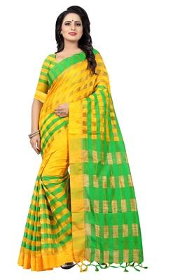 Yellow And Green Checkered Ora Dhupian Saree With Blouse