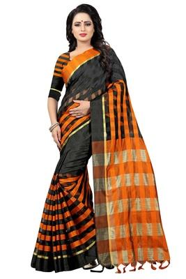 Black And Orange Checkered Ora Dhupian Saree With Blouse