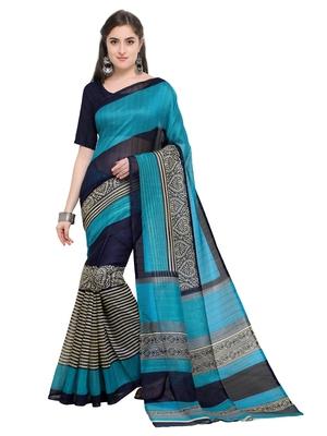 Navy blue printed bhagalpuri silk saree with blouse