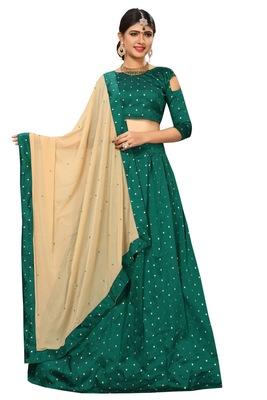 9f6b104806 Dark-green woven silk semi stitched lehenga with dupatta - Trishulom ...