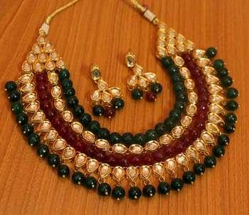 onyx beaded necklace set Contemporary semi precious kundan with meenakari work
