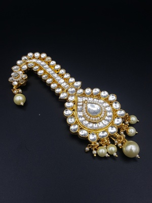 White Jadau Kundan Kalgi for Men Safa Turban Jewellery for Men