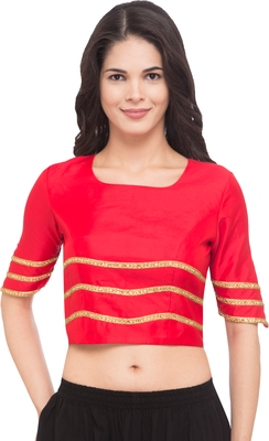 Red solid silk readymade blouse