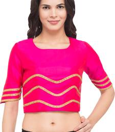 Buy Pink solid silk readymade blouse women-ethnic-wear online