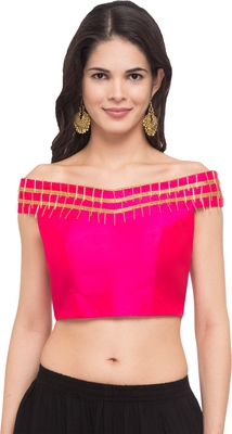 Pink solid silk readymade blouse