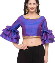 Purple solid silk readymade blouse