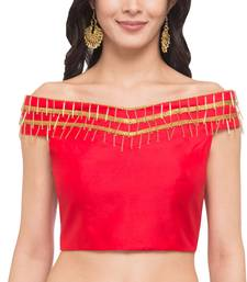 Buy Red solid silk readymade blouse readymade-blouse online