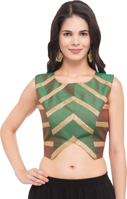 Green self design silk readymade blouse