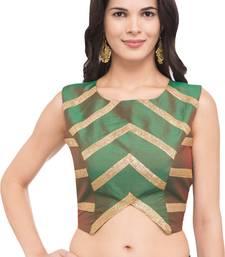 Green self design silk readymade blouse