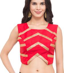 Red self design silk readymade blouse