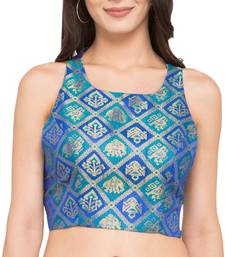 Buy Blue self design dupion_silk readymade blouse readymade-blouse online