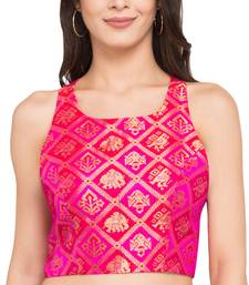 Pink self design dupion_silk readymade blouse