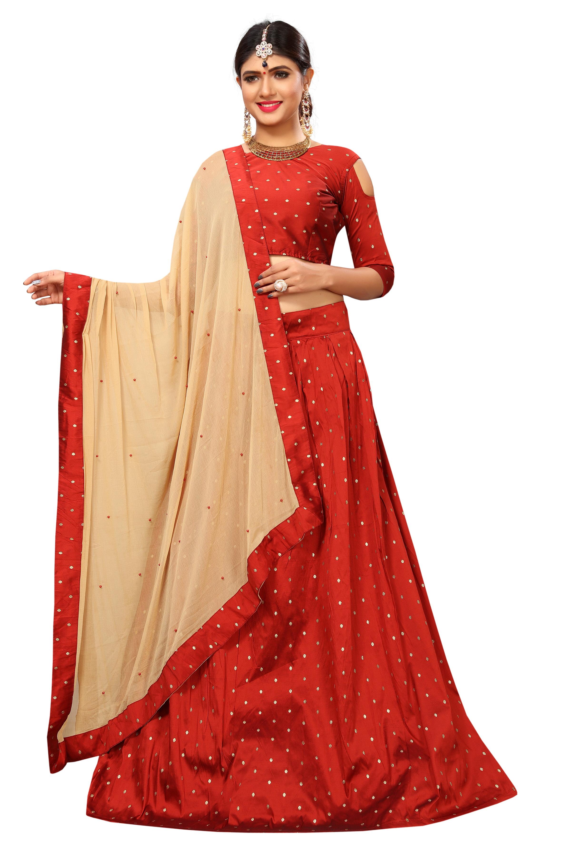 788e0419fc Red woven silk semi stitched lehenga with dupatta - Trishulom Cloth's  Online - 2695167