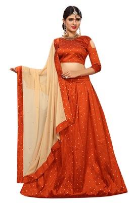 968552c2c8 Orange woven silk semi stitched lehenga with dupatta - Trishulom ...