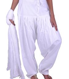 Buy Womens Cottage White Cotton Semi Patiala and dupatta Set patialas-pant online