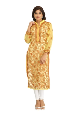 Yellow embroidered georgette chikankari-kurtis