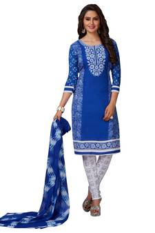 c4eb9b9e5b7 Blue Printed Synthetic Unstitched Salwar With Dupatta