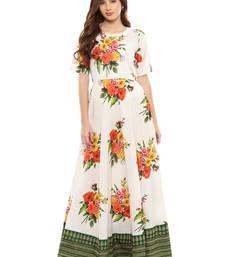 White printed cotton kurti
