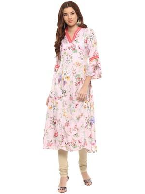 Pink printed polyester kurti