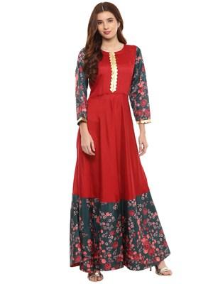 Red printed polyester kurti