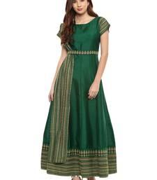 Buy Green printed polyester kurti long-kurtis online