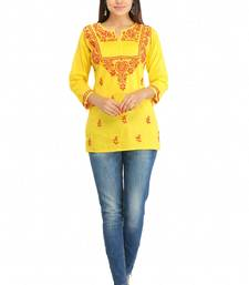 Yellow embroidered cotton chikankari-Short kurtis