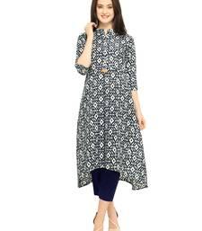 Buy Navy-blue printed cotton kurti women-ethnic-wear online