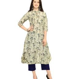 Buy Beige printed cotton kurti long-kurtis online