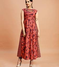 Dark-pink printed cotton poly long-kurtis