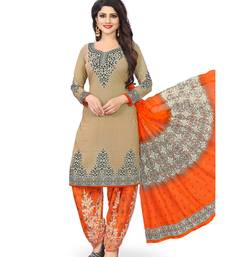 Buy Beige fancy crepe salwar with dupatta dress-material online